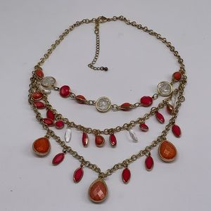 Jewelry - Multi Strand Statement Necklace Boho Faceted Stone